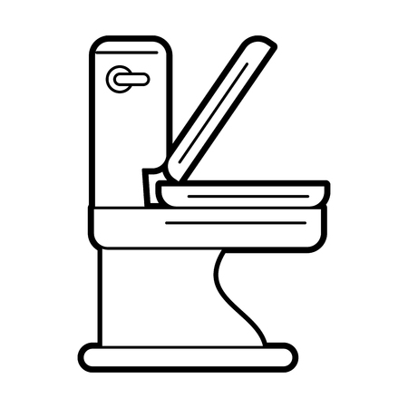 interior decoration: Flat line uncolored toilet over white background vector illustration