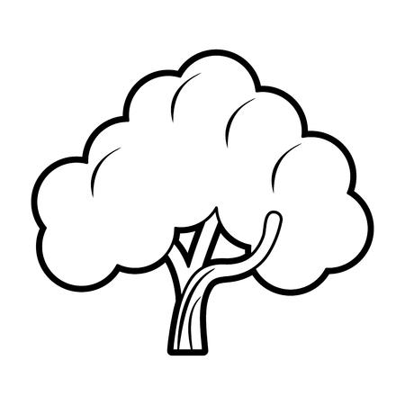 Flat line uncolored tree over white background vector illustration Illustration