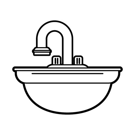 steel industry: Flat line sink uncolored over white background vector illustration Illustration