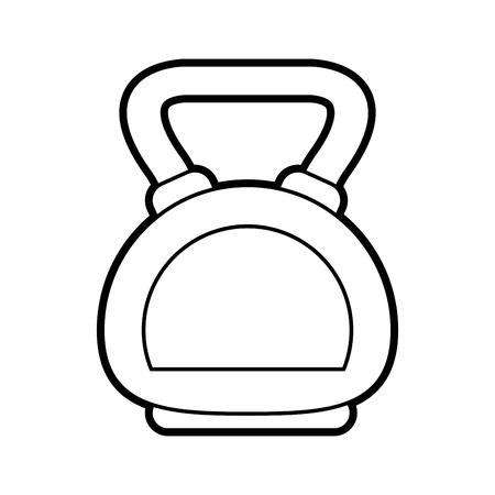 Flat line kettlebell uncolored over white background vector illustration Illustration