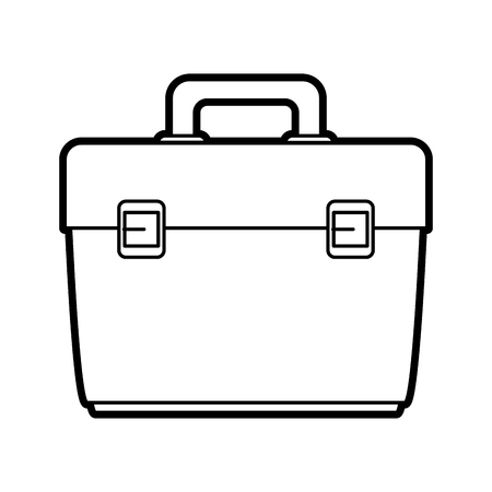 case: Flat line uncolored briefcase over white background vector illustration