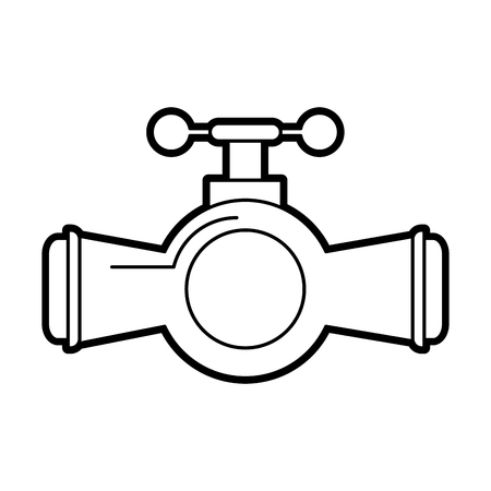 Flat line pipe with valve  uncolored over white background vector illustration