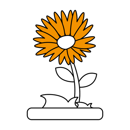 Flat line flower with hint of color over white background vector illustration