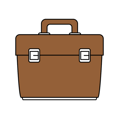 case: Flat line briefcase with hint of color over white background vector illustration