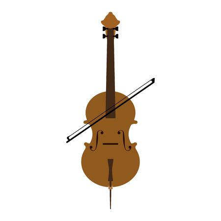 A cello and bow musical instrument icon image vector illustration design.
