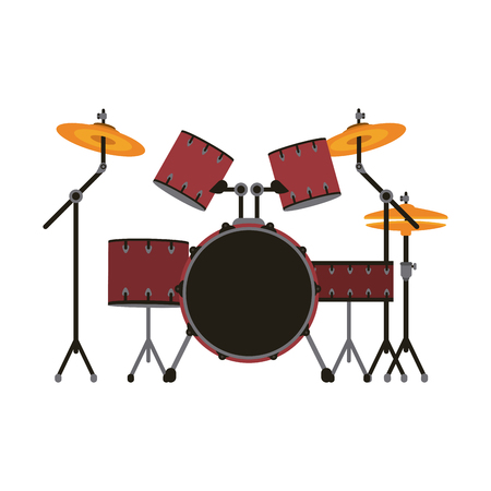 Drum set musical instrument icon image vector illustration design