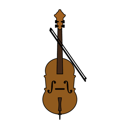 Cello and bow musical instrument icon image vector illustration design Illustration