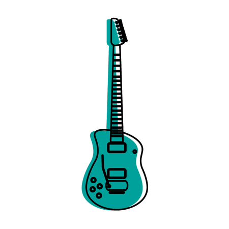 Electric guitar icon image vector illustration design  blue color