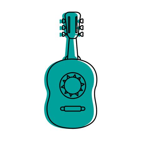 Guitarron acoustic guitar icon image vector illustration design  blue color Illustration