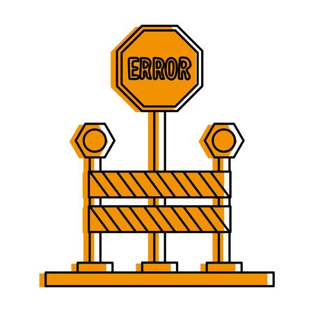 Error traffic sign with roadblock icon image vector illustration design  orange color