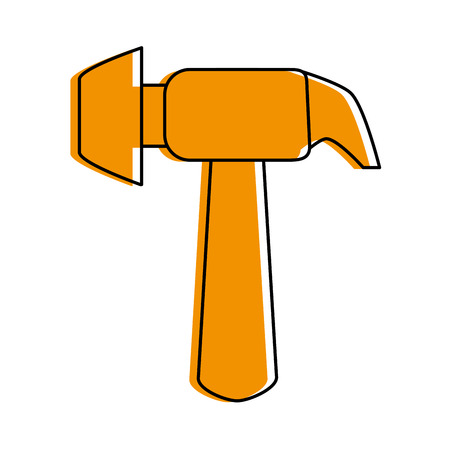 Hammer tool icon image vector illustration design  orange color
