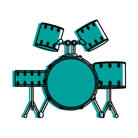 Drum set musical instrument icon image vector illustration design  blue color Illustration