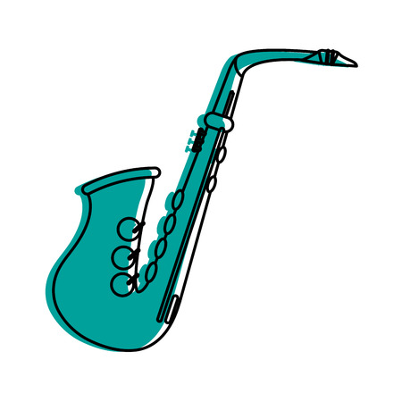 Saxophone musical instrument icon image vector illustration design  blue color