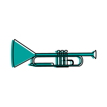 Trumpet musical instrument icon image vector illustration design  blue color Illustration