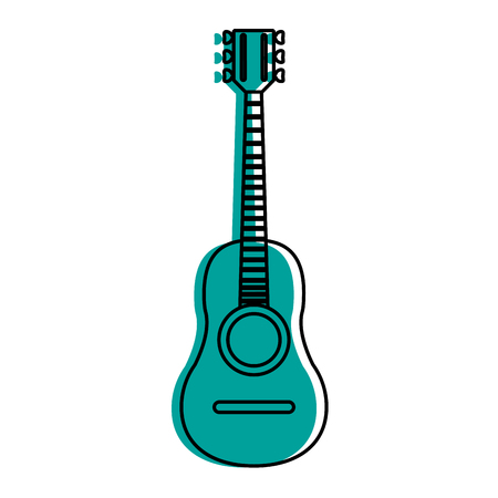 Acoustic guitar icon image vector illustration design  blue color Illustration