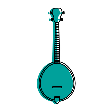 acoustic guitar banjo icon image vector illustration design  blue color