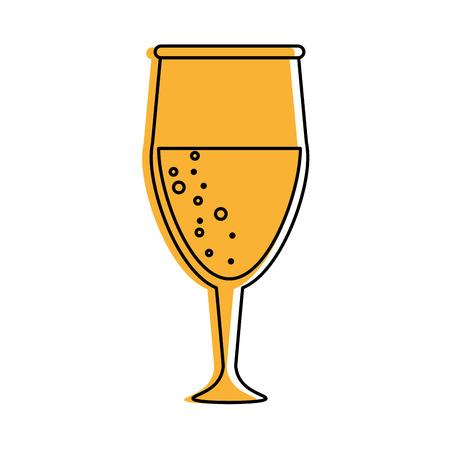 glass of champagne icon image vector illustration design  yellow color