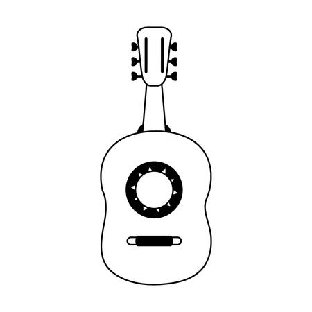guitarron acoustic guitar icon image vector illustration design  black and white