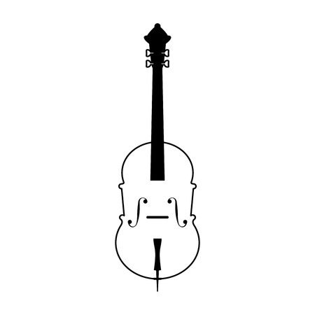cello musical instrument icon image vector illustration design  black and white Illustration