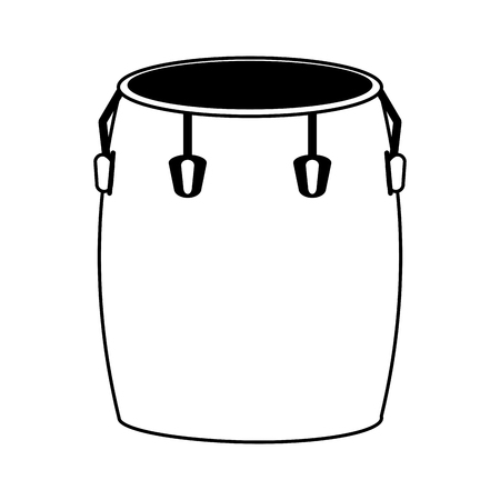 Conga drum musical instrument icon image vector illustration design  black and white