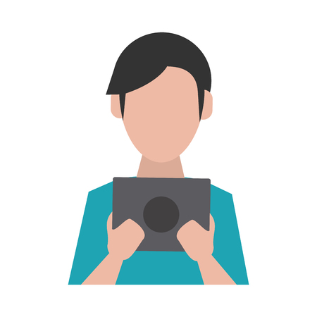 man avatar using tablet icon image vector illustration design