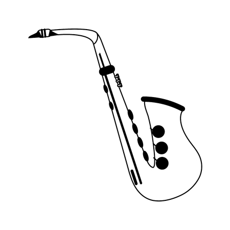 saxophone musical instrument icon image vector illustration design  black and white