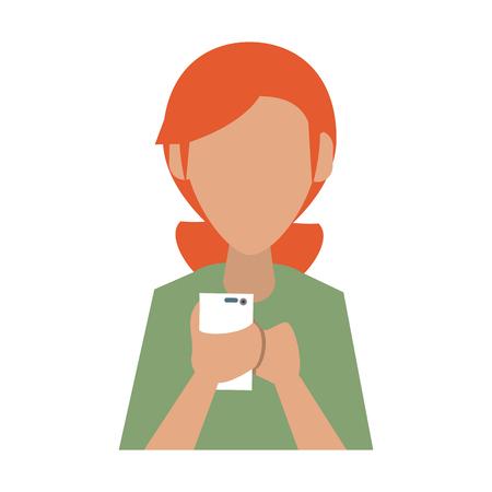 old telephone: woman avatar using cellphone icon image vector illustration design Illustration
