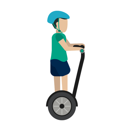 man on self balancing two wheel scooter with helmet icon image vector illustration design Illustration