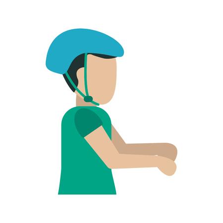 hombre que usa el icono del casco diseño de ilustración vectorial Vectores
