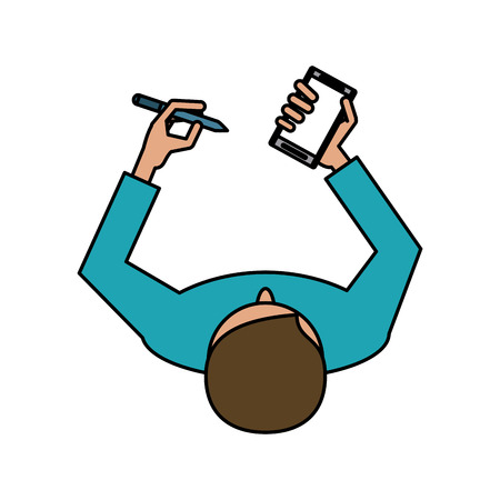 man avatar using cellphone with pen icon image vector illustration design