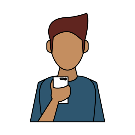 old telephone: man avatar using cellphone icon image vector illustration design Illustration