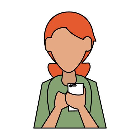 Woman avatar using cellphone icon image vector illustration design