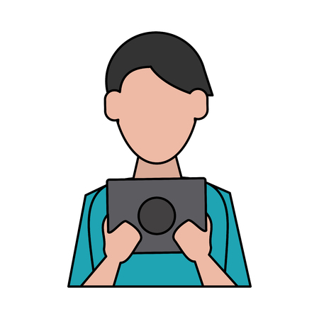 A man avatar using tablet icon image vector illustration design.