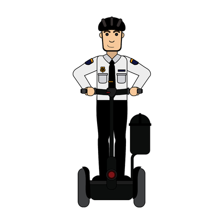police officer on self balancing two wheel scooter icon image vector illustration design