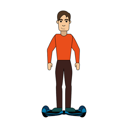 man riding hoverboard icon image vector illustration design