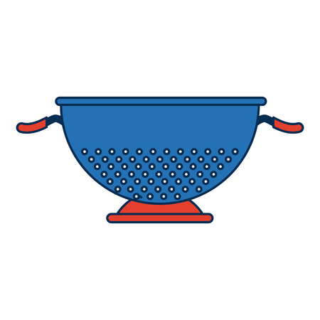 colander: metal kitchen strainer cooking element icon vector illustration