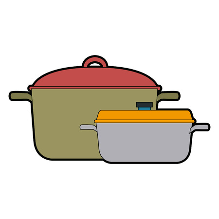 A pan of stainless casserole cooking domestic vector illustration.