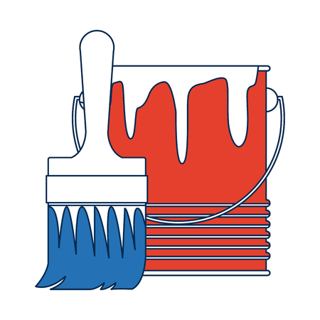 paint can: paint brush and bucket can construction vector illustration