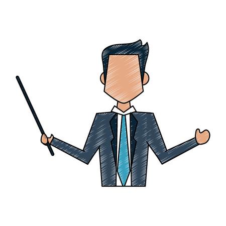 modern business: Colorful businessman doodle over white background vector illustration Illustration