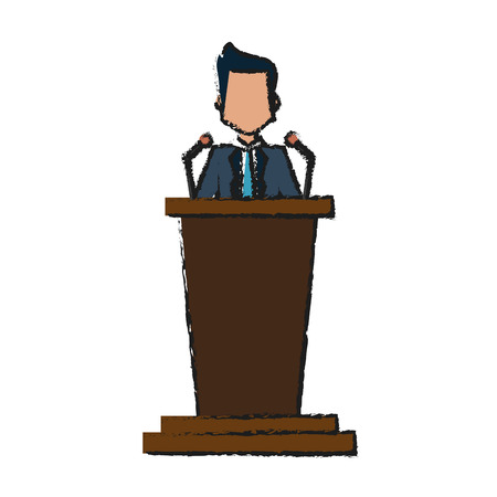 Colorful man and lectern doodle over white background vector illustration