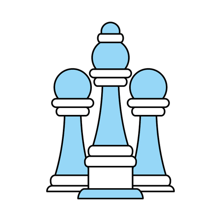 Flat line monocromatic chess pieces over white background vector illustration
