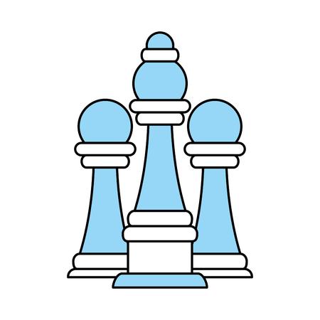 Vlakke lijn monocromatische schaakstukken over witte vectorillustratie als achtergrond