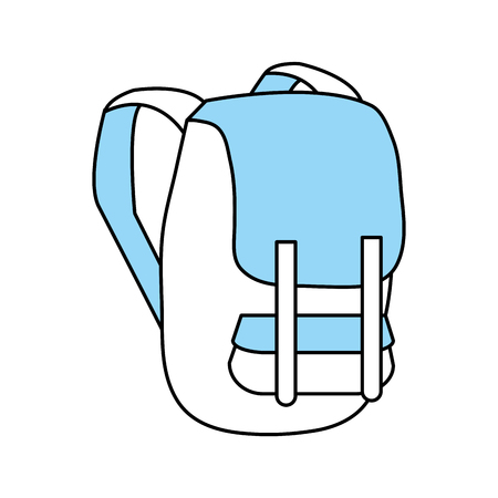 Flat line monocromatic backpack over white background vector illustration