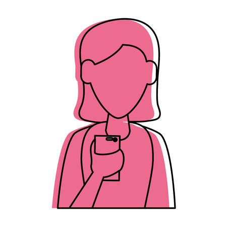 woman avatar using cellphone icon image vector illustration design  pink color