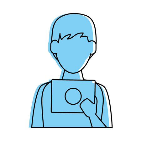 man avatar using tablet icon image vector illustration design  blue color Illustration