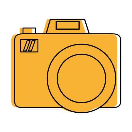 shutter: photographic camera icon image vector illustration design  yellow color Illustration