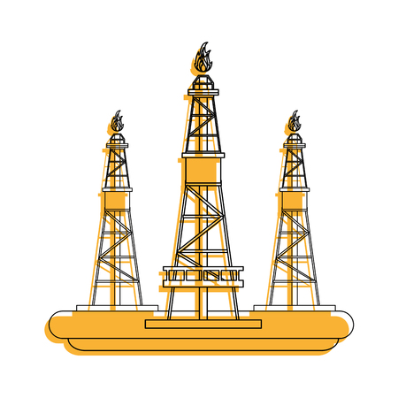plant natural gas industry icon image vector illustration design  yellow color