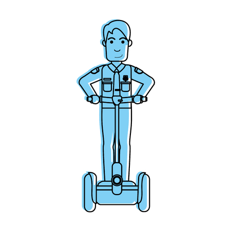 police officer on self balancing two wheel scooter icon image vector illustration design  blue color
