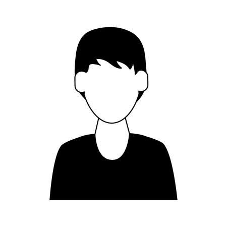man avatar icon image vector illustration design  black and white