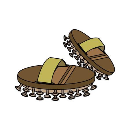 Exfoliation wood brush spa object icon image vector illustration design